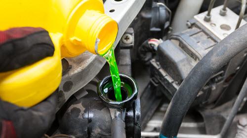 Pouring Coolant in Jaguar